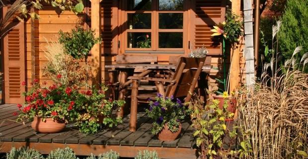 Rośliny doniczkowe na tarasie